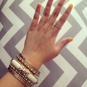 jewels,forever 21,white pearl,bracelets,set bracelets,gold,chain ring,pacsun
