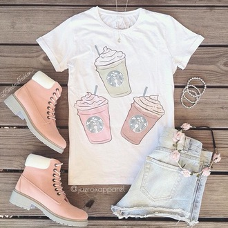 t-shirt hipster style girly cool neon quote on it cute tumblr girl dope pretty summer trendy short lookbook pastel starbucks coffee swag urban frappe
