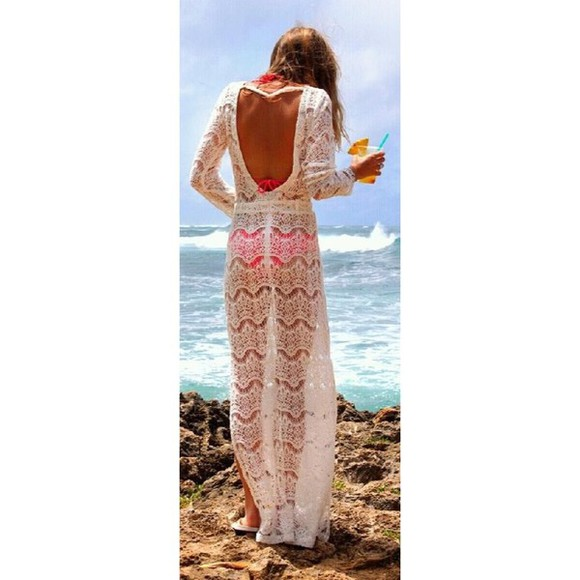 dress white dress long sleeved dress lace dress open back maxi dress crochet cover up beach wear