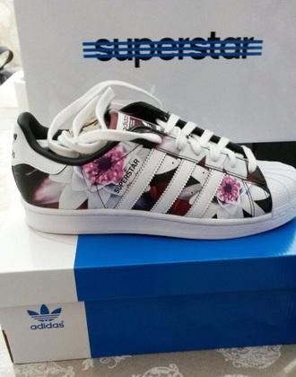 shoes superstar flowers black pink adidas superstars adidas adidas originals adidas shoes