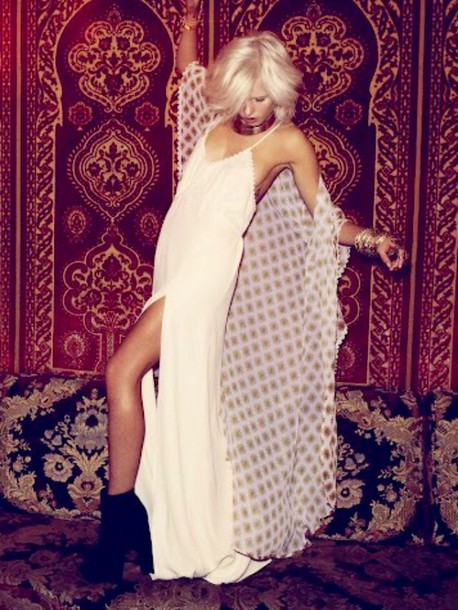 dress white dress maxi dress style slip dress kimono chic boho bohemian