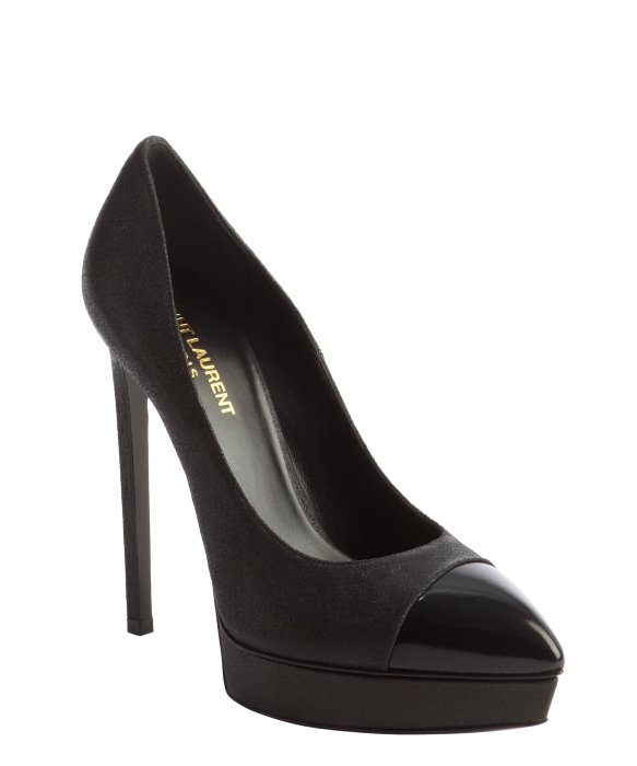 Saint Laurent black glitter leather cap toe platform pumps | BLUEFLY up to 70% off designer brands