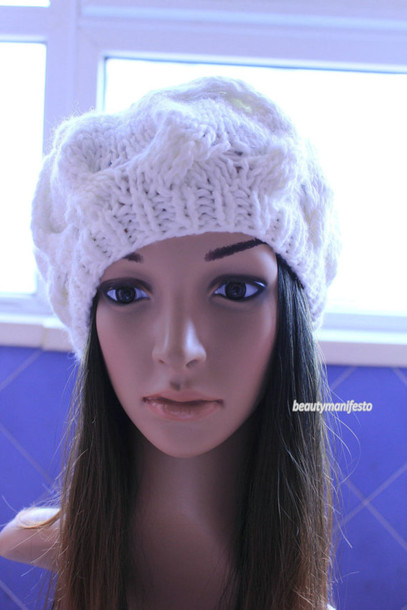 7aeb02e0 knitwear warm handmade cap crochet stylish girl girly women slouchy  beautymanifesto beanie fashion hat
