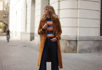 my daily style blogger coat jeans sweater top sunglasses brown coat flare jeans fall outfits