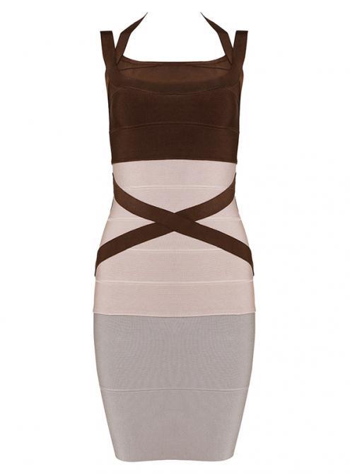 Apricot Strap Bandage Dress H619$109