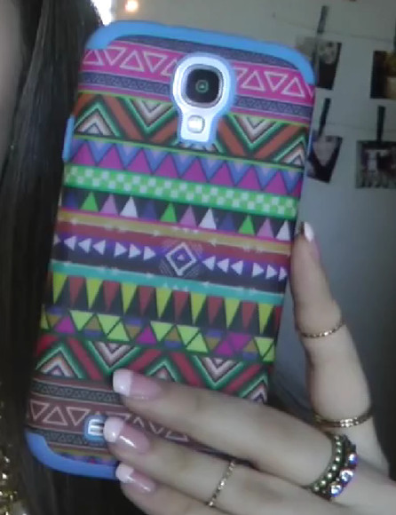 phone case samsung galaxys4 aztec hard colorful
