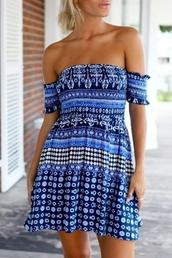 dress,blue,summer,beach,spring,cute,strapless,tan,trendy,beautifulhalo,blue dress,tribal pattern,tribal dress