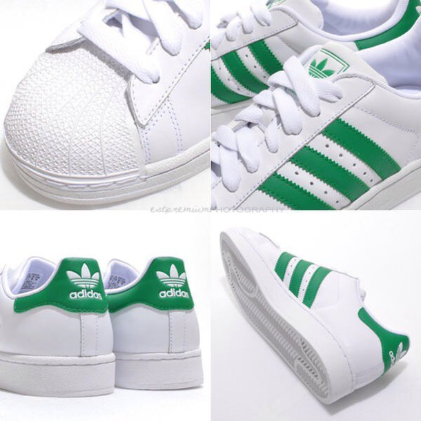 shoes, green sneakers, adidas originals, adidas superstars, adidas superstar 2 shoes, white shoes - Wheretoget