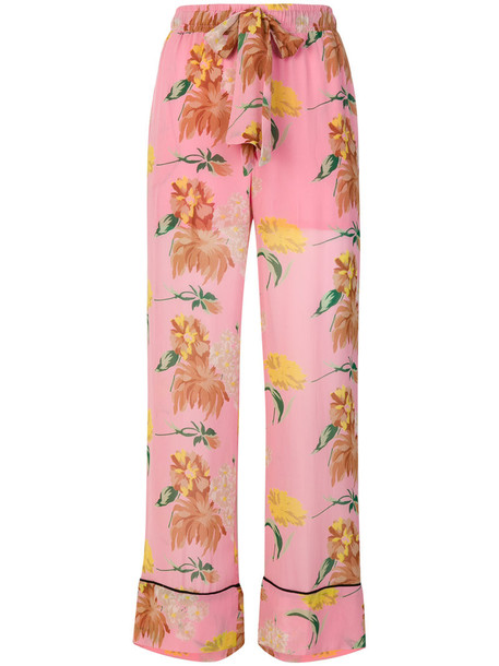 Ganni embroidered women floral purple pink pants