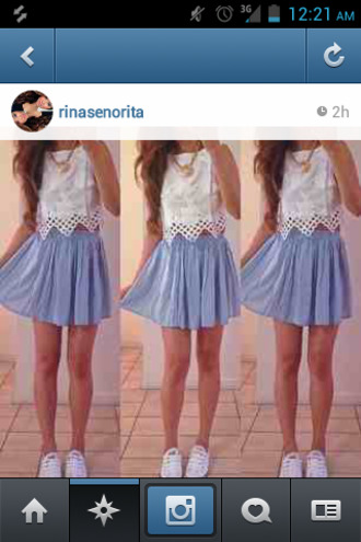 skirt blue jean skirt gold necklace white converse shoes white crop tops