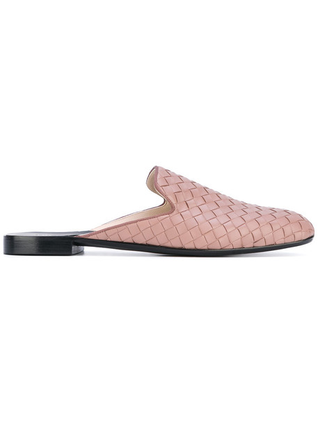 women mules leather purple pink shoes