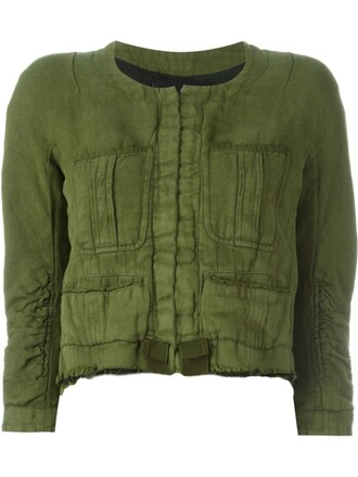 jacket cropped jacket cropped green