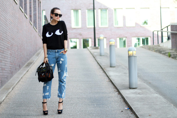 style scrapbook sweater jeans shoes bag jewels sunglasses