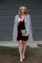 avecamber,blogger,dress,coat,shoes,bag,jewels,grey coat,velvet dress,red velvet dress,nude heels