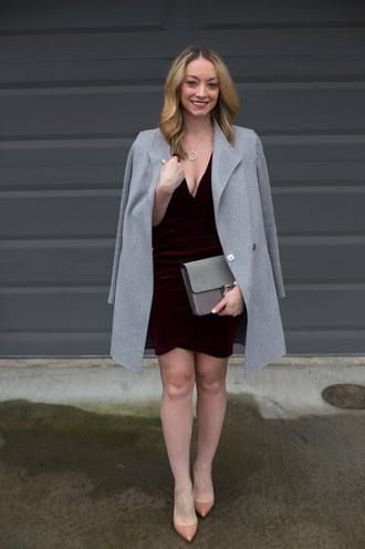 avecamber blogger dress coat shoes bag jewels grey coat velvet dress red velvet dress nude heels