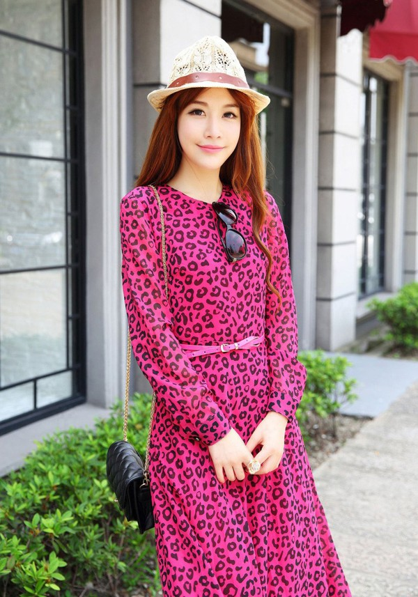 leopard printed print print fashion dress streetstyle clothes leopard dress long sleeve dress dress