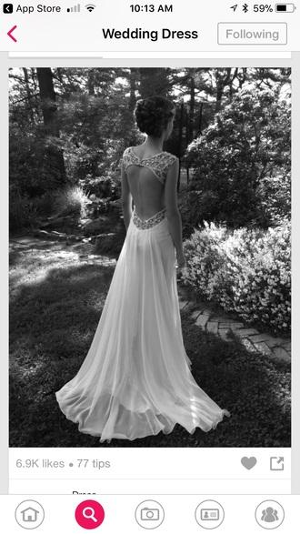 dress sleeveless beaded back wedding gown