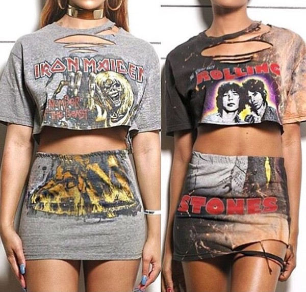 dress shirt skirt cut-out grey black two piece dress set the rolling stones iron maiden cropped t-shirt mini skirt