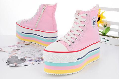 Maxstar CN9 7-Holes Zipper Double Platform Sneakers Pink at MaxstarStore.com