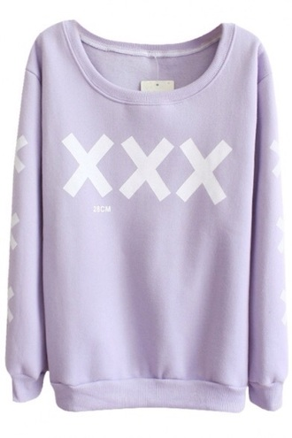 sweater pastel goth cross lilac sweater