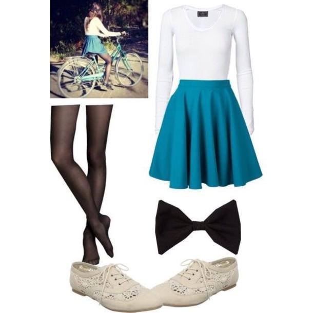 skirt skater skirt hair accessory shirt shoes tights