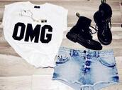 t-shirt,tank top,white,black,combat boots,shorts,acid wash,hipster,clothes,vintage,vintage-inspired shorts,perfect,shoes,pants,jewels,blouse,top