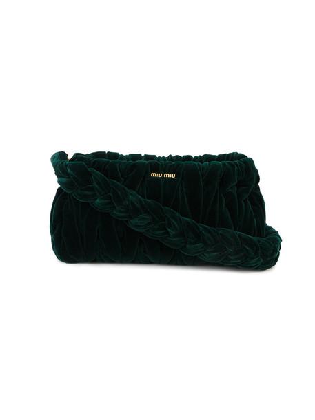 Miu Miu women bag shoulder bag velvet green