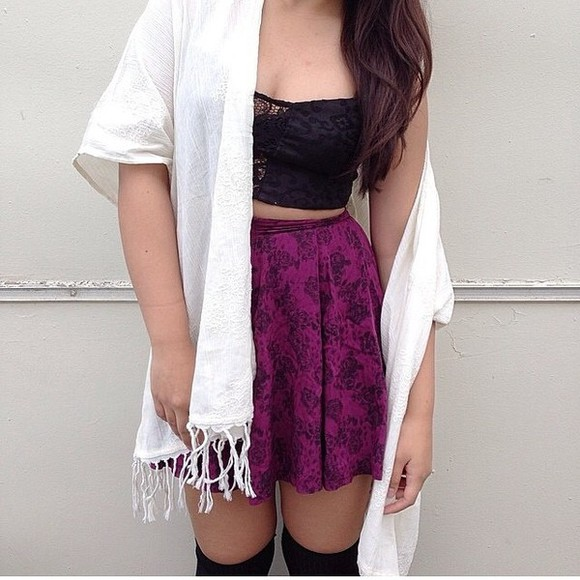 cardigan shirt white cardigan crop tops skater skirt purple purple skirt floral white+pink+purple skater skirt