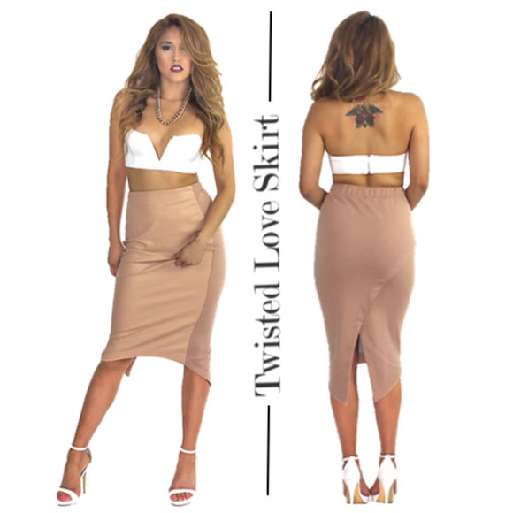 blouse nude skirt midi skirt high waisted skirt sexy dress sexy skirt going out beige skirts trending trendy fall outfits clubwear