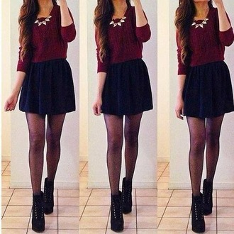 sweater red sweater necklass skirt black skirt
