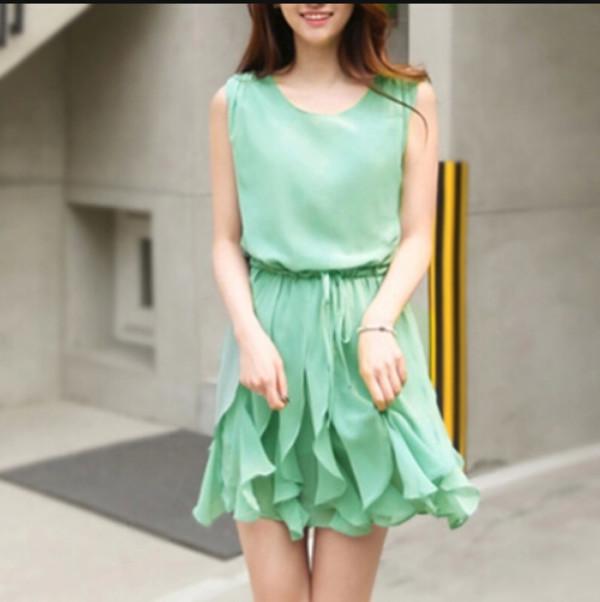 dress green dress summer dress short dress