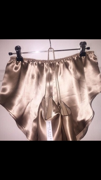 shorts golden silk pajamas rose gold