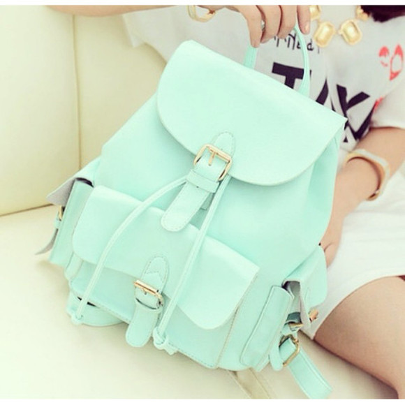 green bag mint book bag purse
