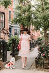 dress,tumblr,midi dress,pink dress,bag,red bag,sandals,wedges,wedge sandals,sunglasses,cat eye