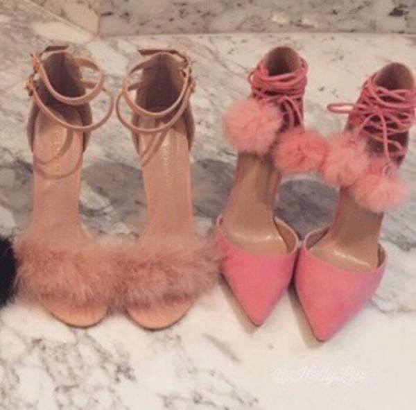 shoes pink fluffy pink shoes heels furry heels fluffy heels