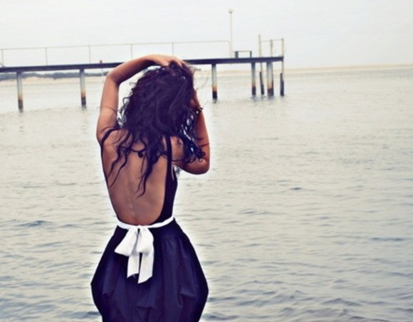 white sea dress black bow openback dress summertime tanned girl