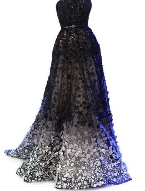 dress gown sparkler fancy flowers midnight