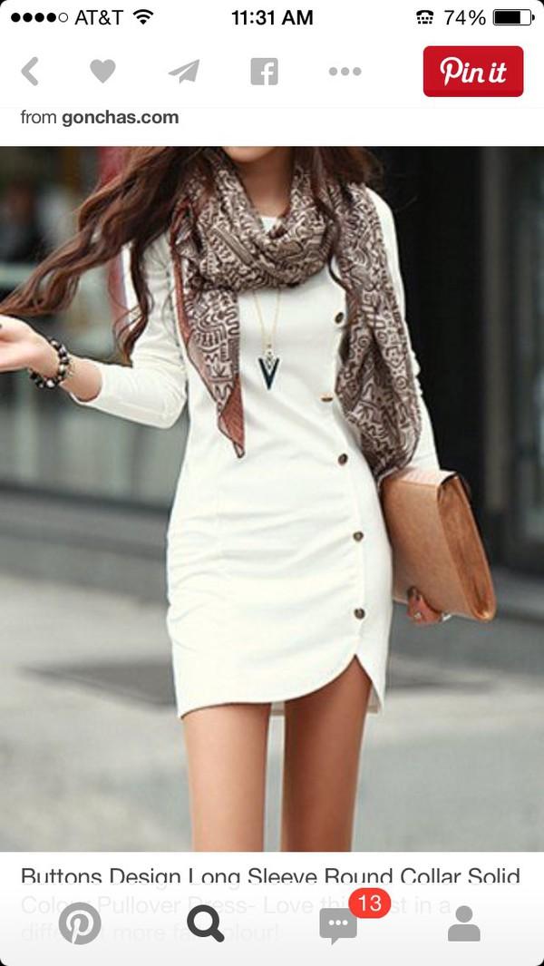 27b6ff894d Buttons Design Long Sleeve Round Neck Pullover Women s Dress (WHITE ...