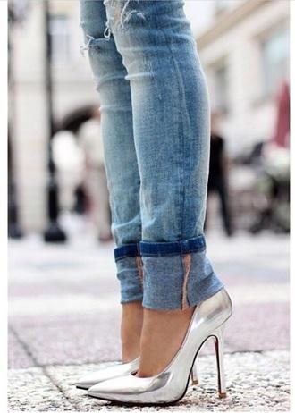 heels metallic shoes