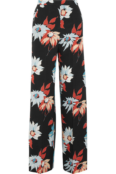 pants wide-leg pants floral print silk blue black sky blue