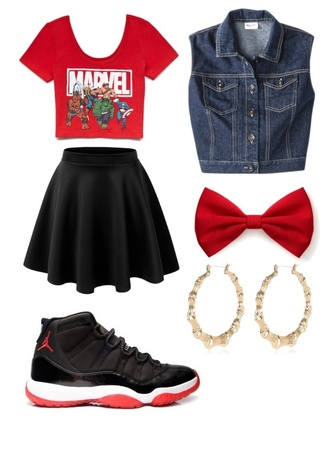 shirt marvel jean jacket red red bow hair bow bows bred 11s jordans bred 11 skirt black skirt shoes jacket hair accessories sweater