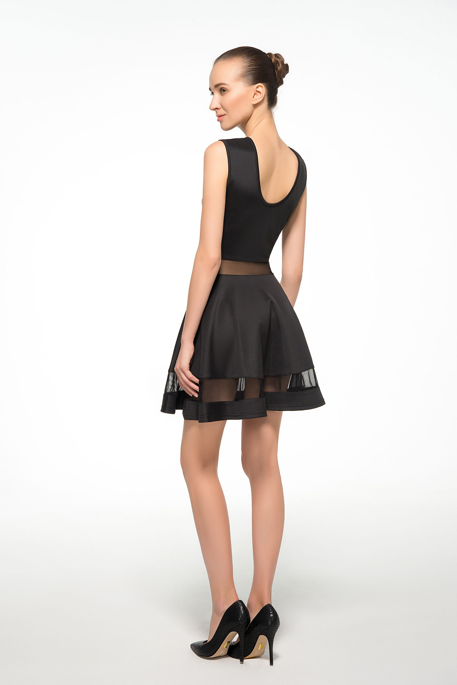 Perfect Black Mesh Panel Club Skater Dress is Hot Selling at MsFairy.com