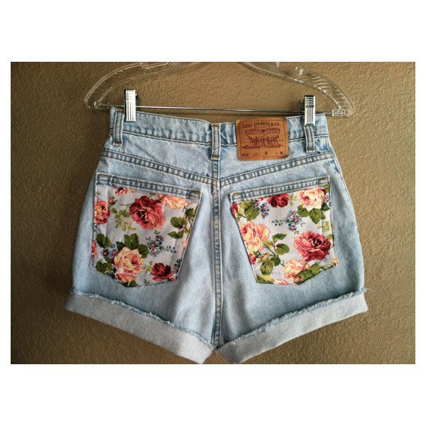 Vintage Floral Pocket High Waisted Levi's Shorts (Small) - Polyvore