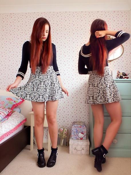 skirt pattern shirt long sleeves patterned skirt