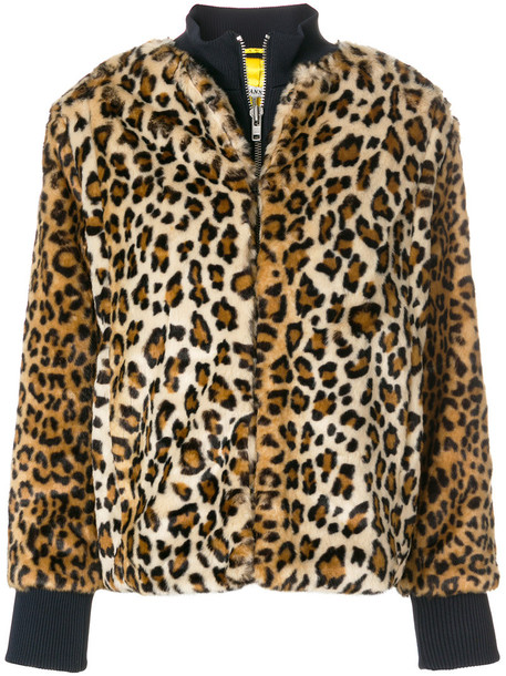 Ganni jacket bomber jacket fur faux fur women print brown leopard print