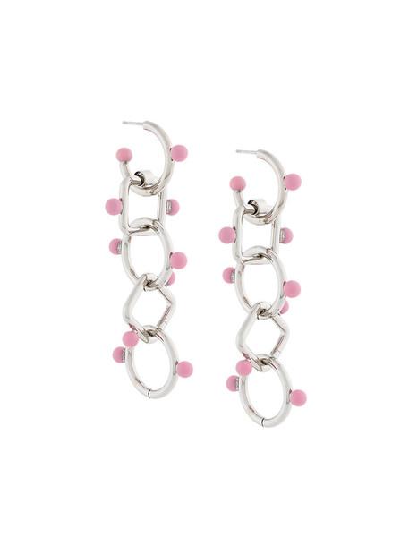 MARNI women earrings pendant grey metallic jewels