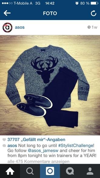 sweater asos sweatshirt pullover deer christmas sweater