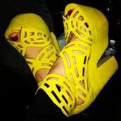 shoes,yellow,high heels,chunky heels