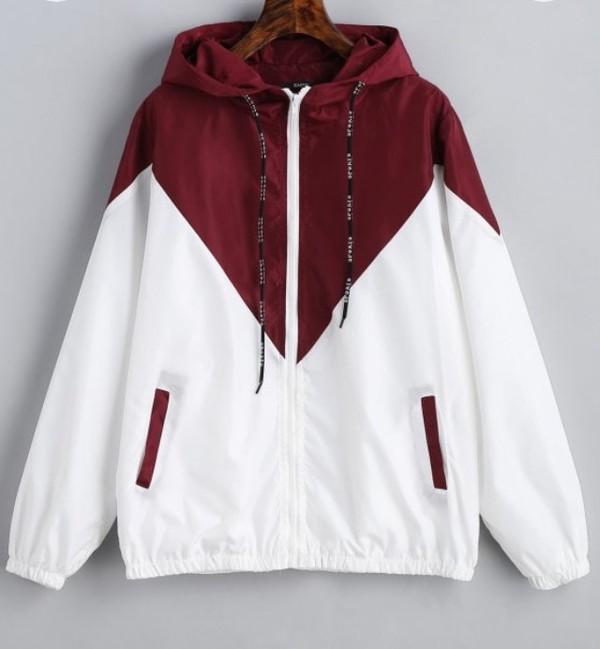 jacket windbreaker coat red white