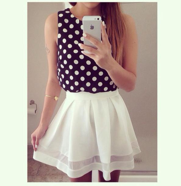 skirt shirt polka dots